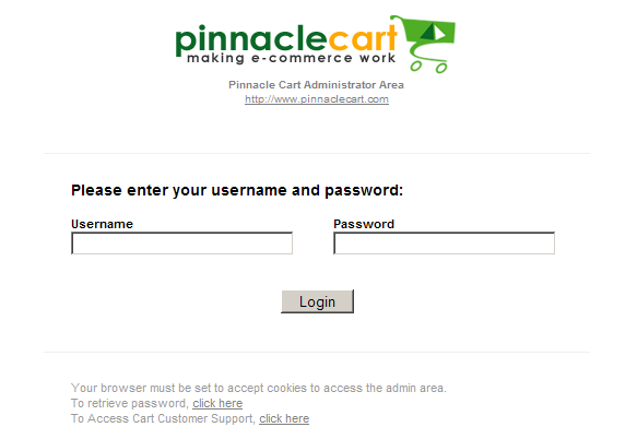 Pinnacle Cart Admin Login